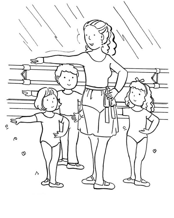 Ballet, : Ballet Class for Kids Coloring Pages