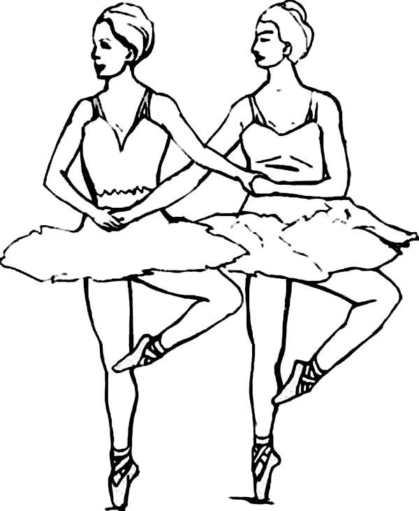 Ballet, : Ballet Dancer Duo Coloring Pages