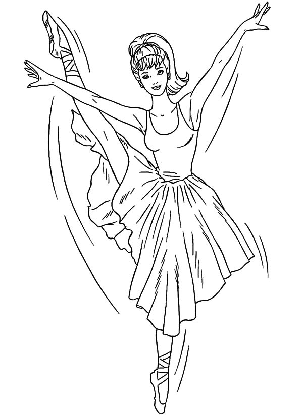 Ballet Girl, : Barbie Ballerina Girl Flying Coloring Pages