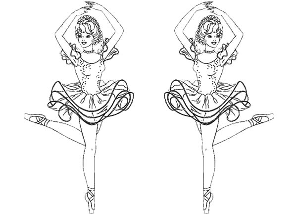 Ballet Girl, : Barbie Couple Ballerina Girl Coloring Pages