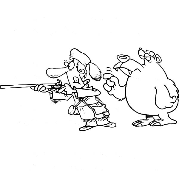 Hunting, : Bear Tapping a Hunter on the Shoulder When Hunting Coloring Pages