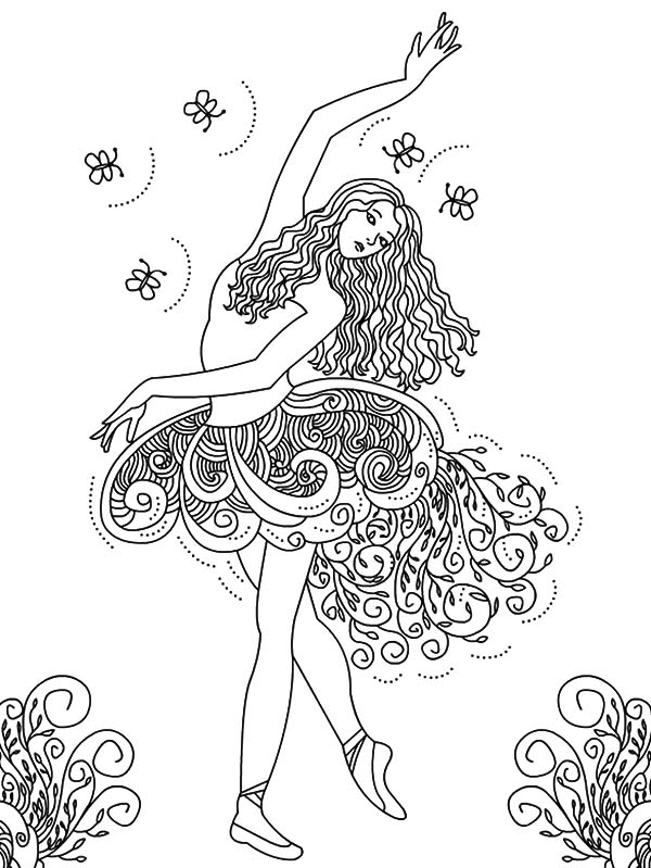 Ballet Girl, : Beautiful Ballerina Girl Coloring Pages