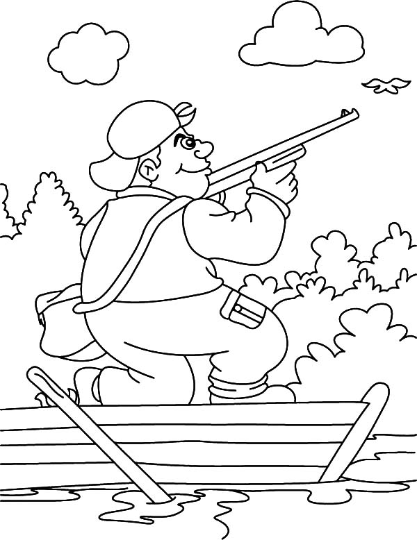 Hunting, : Bird Hunting on a Small Boat Coloring Pages