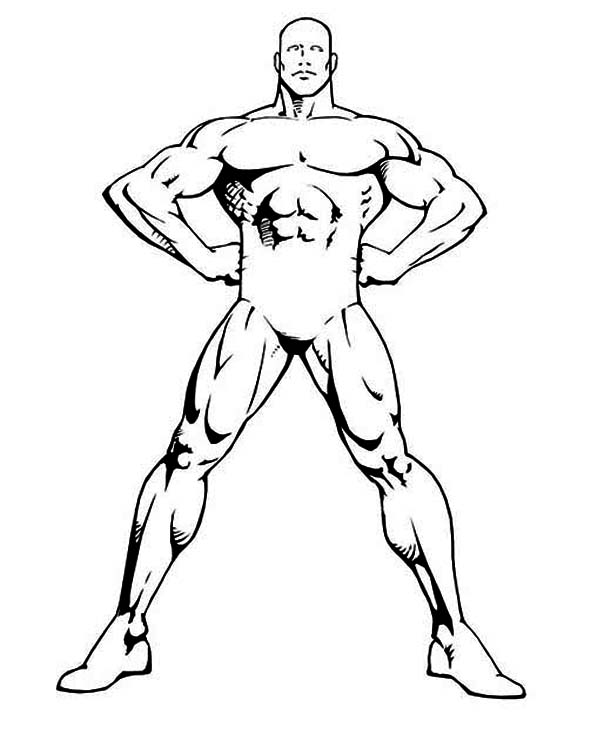 Human Body, : Bodybuilder Human Body Coloring Pages