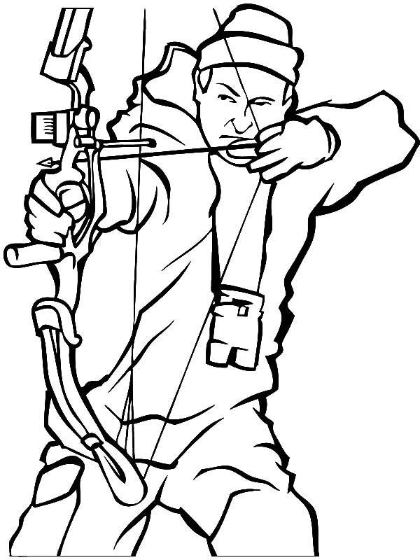 Hunting, : Bow Hunting Coloring Pages