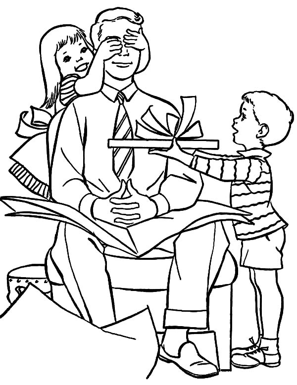 I Love Dad, : Bring Daddy Surprise Present I Love Dad Coloring Pages