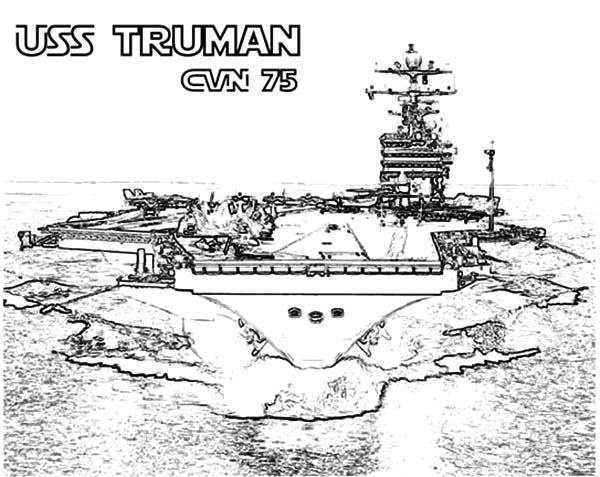 Coloring pages aircraft carrier ~ CVN 75 Truman Aircraft Carrier Ship Coloring Pages ...