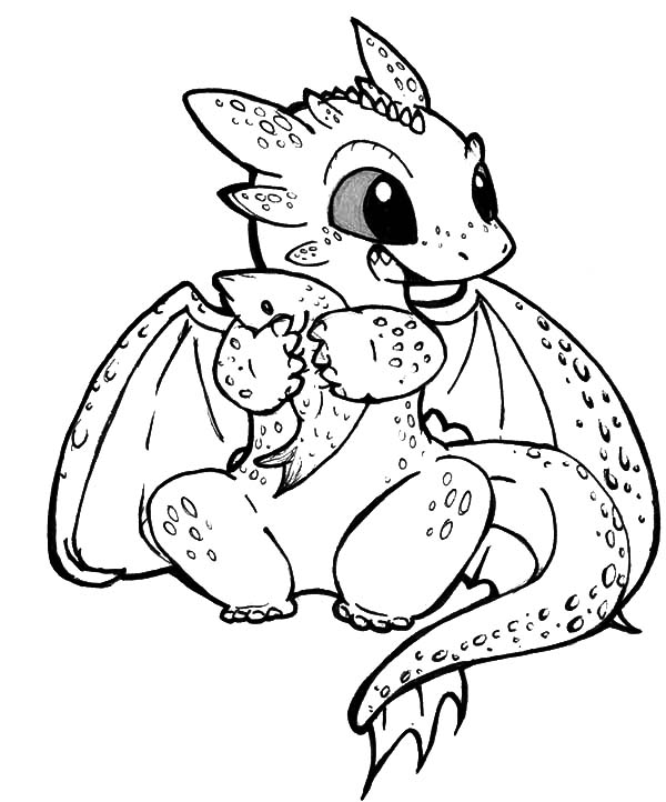 How To Train Your Dragon, : Chibi Toothless Eat Fish in How to Train Your Dragon Coloring Pages