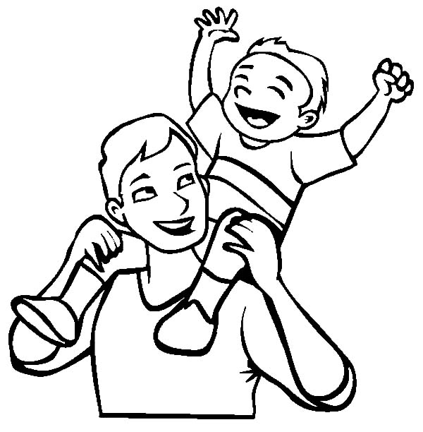 I Love Dad, : Child Piggyback on Daddys Back I Love Dad Coloring Pages