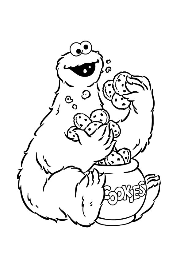 Cookie Monster Eating Cookies From Cookie Jar Coloring