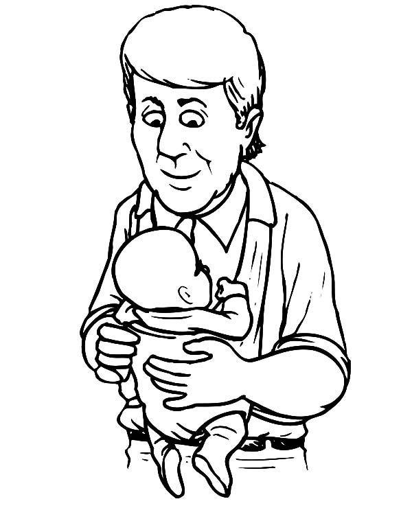I Love Dad, : Dad Holding Baby I Love Dad Coloring Pages