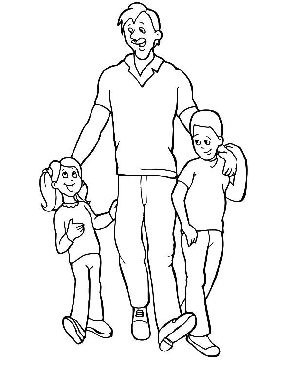 I Love Dad, : Dad with His Kids I Love Dad Coloring Pages