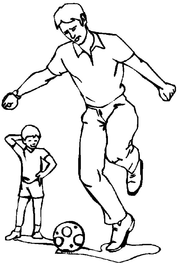 I Love Dad, : Daddy Teach Me to Kick Ball I Love Dad Coloring Pages