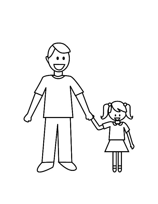 I Love Dad, : Daddy and Her Daughter I Love Dad Coloring Pages