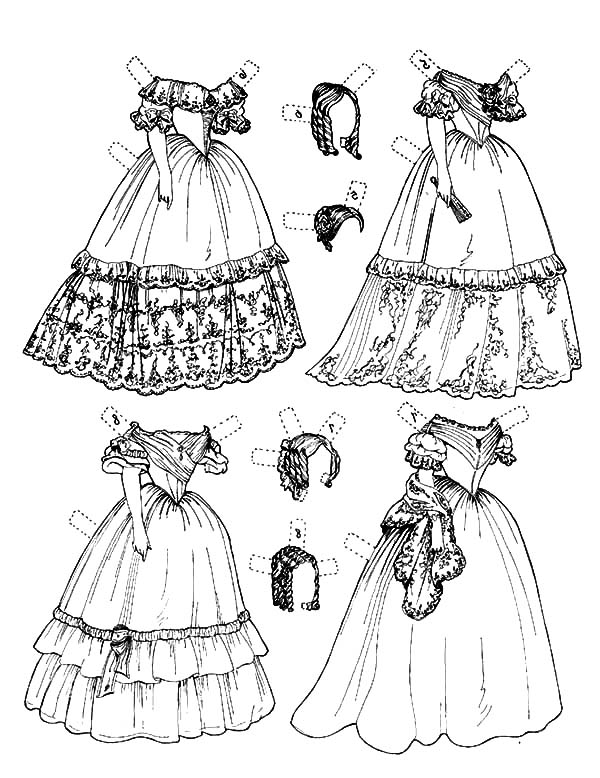 Designing Doll Dress Coloring Pages Coloring Sky