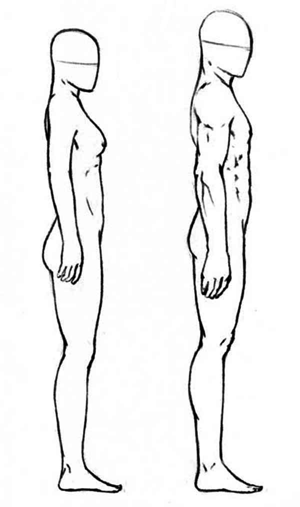 Human Body, : Difference of Male and Female Human Body from Side Coloring Pages