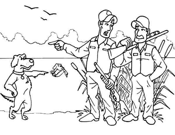 Hunting, : Dog Hunting Protest to Hunter Coloring Pages