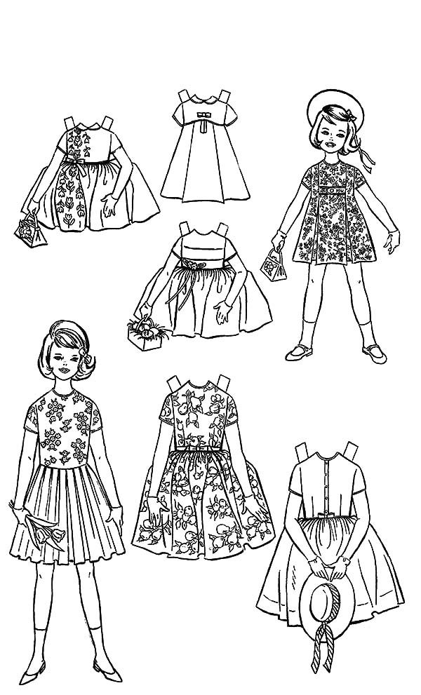 Doll dress night gown with gloves coloring pages for American girl coloring pages kit