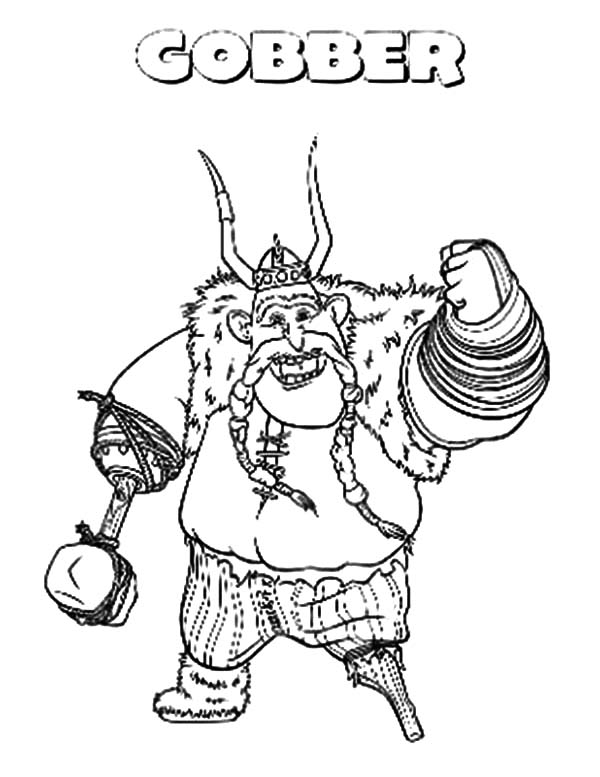How To Train Your Dragon, : Gobber Friend of Hiccup Father in How to Train Your Dragon Coloring Pages