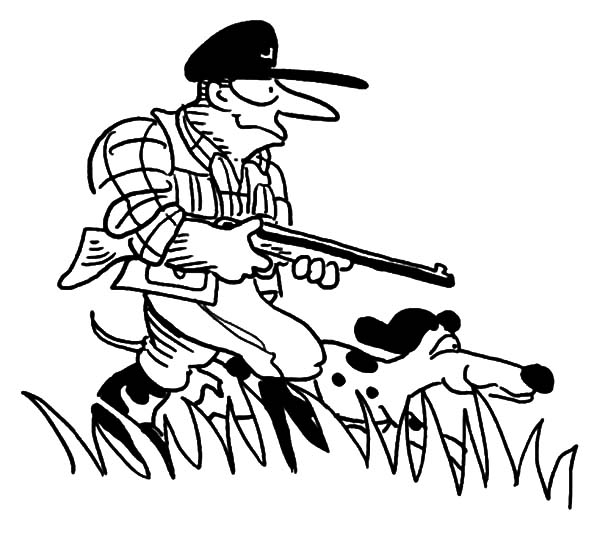 Hunting, : Going Hunting on Foot with My Dog Coloring Pages