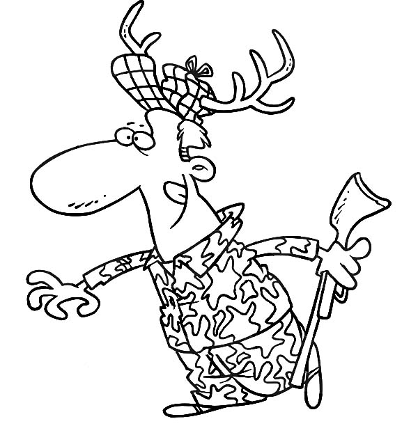 Hunting, : Going Hunting with Deer Costume Coloring Pages