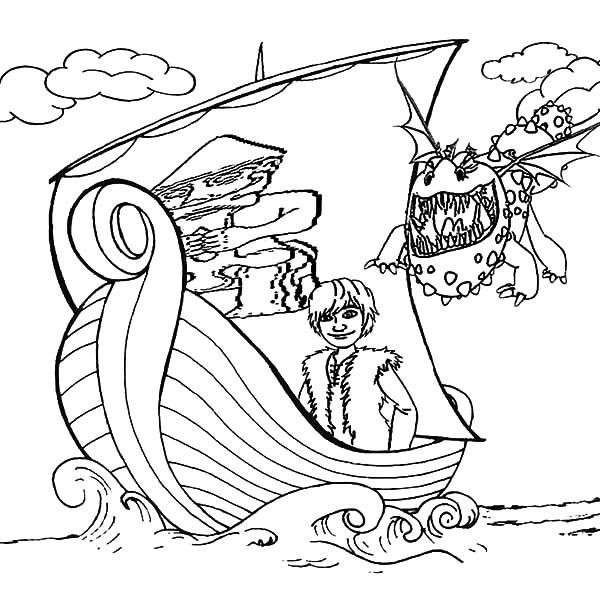 Your Dragon Coloring Pages Gronckle Following Hiccup Sailing With Viking Ship In How To Train
