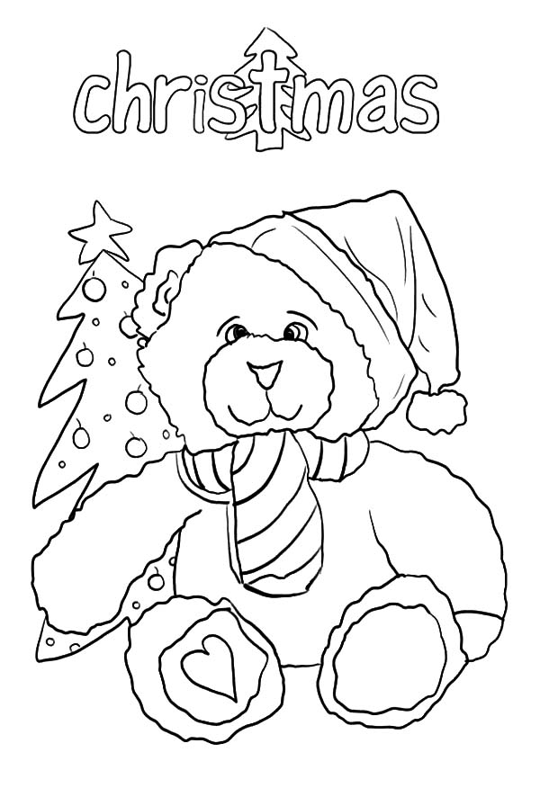 Happy Holidays Teddy Bear Coloring Pages : Coloring Sky