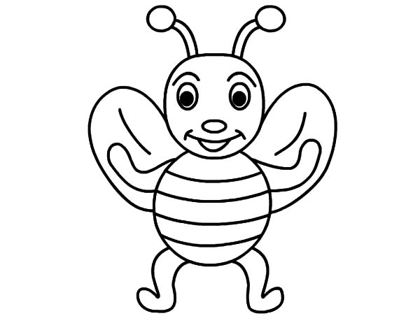 Honey Bee, : Happy Honey Bee Coloring Pages