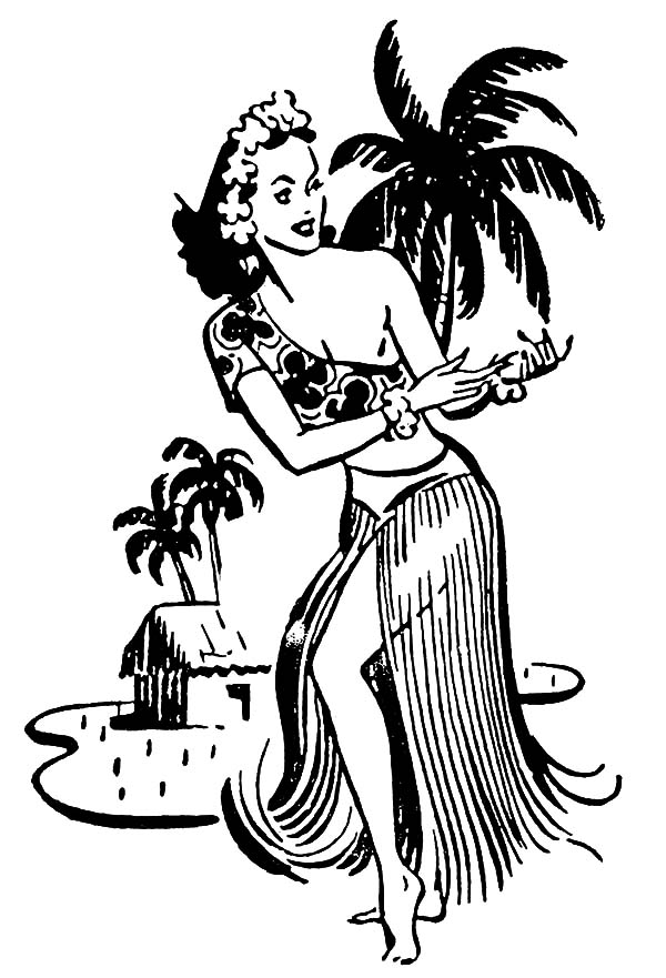 Hawaiian Hula Girl Coloring Pages Coloring Sky
