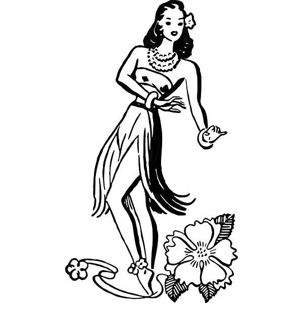 Hawaiian Hula Girl Dancer And A Hibiscus Flower Coloring Pages