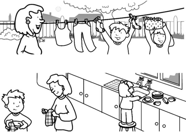 coloring pages children helping - photo#38