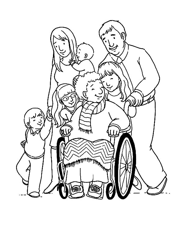 Helping Others, : Helping Others Our Grandma Sitting on Wheelchair Coloring Pages