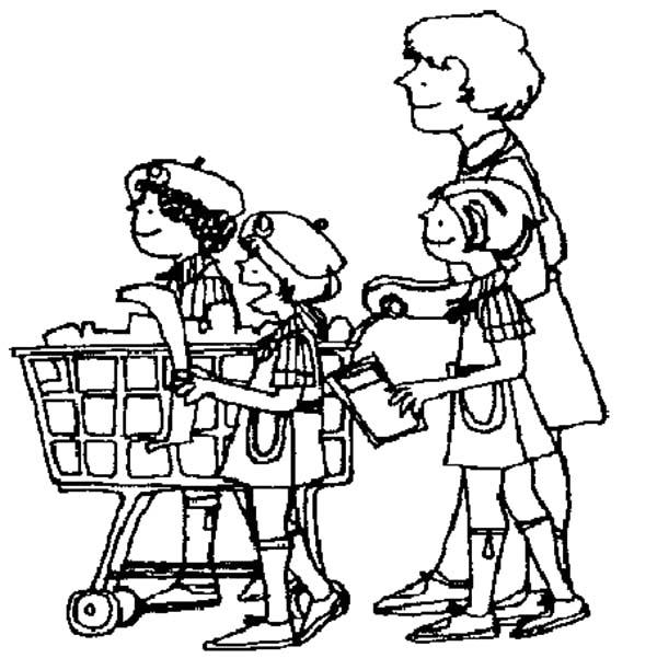 Helping Others, : Helping Others Shop with Mother Coloring Pages