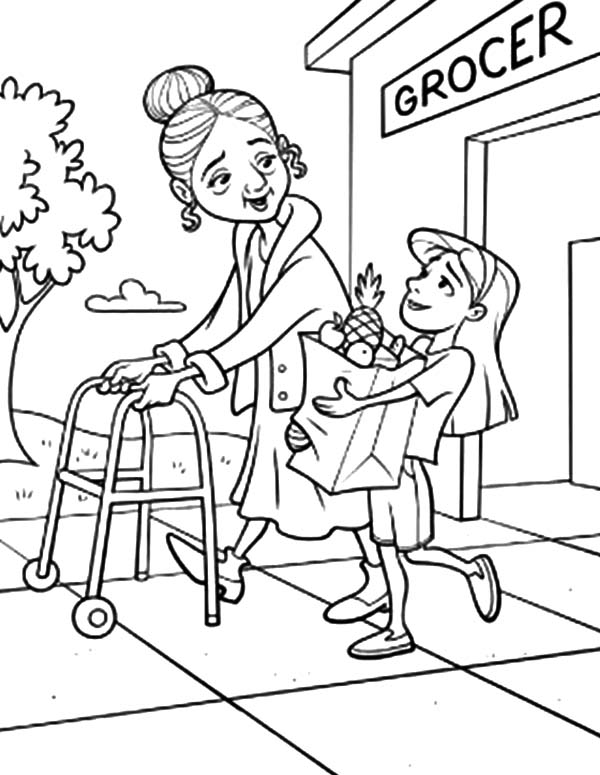 Helping Others, : Helping Others Take Grandma to Groceries Store Coloring Pages