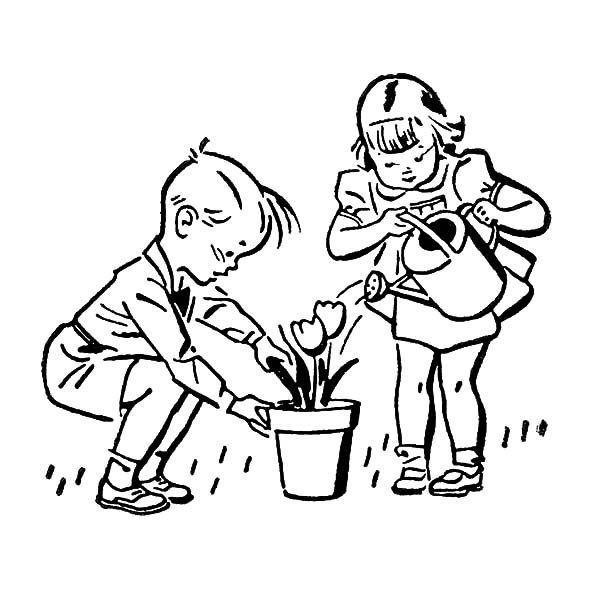 Helping Others, : Helping Others Watering Beautiful Flower Coloring Pages