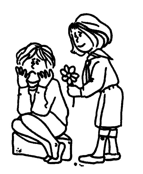 Helping Others, : Helping Others When They Feeling Sad Coloring Pages