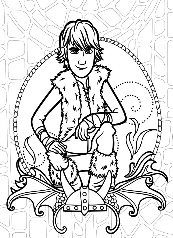 How To Train Your Dragon, : Hiccup Sitting on Viking Throne in How to Train Your Dragon Coloring Pages