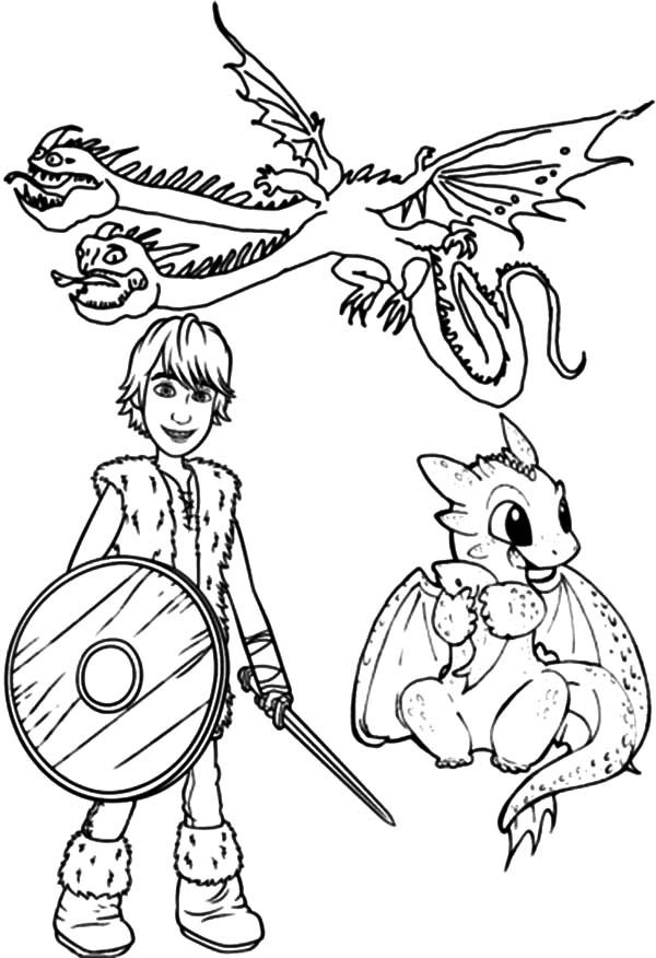 How To Train Your Dragon, : Hiccup and Baby Dragon in How to Train Your Dragon Coloring Pages