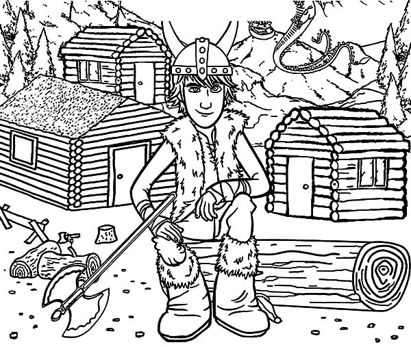 How To Train Your Dragon, : Hiccup and Berg Village in How to Train Your Dragon Coloring Pages
