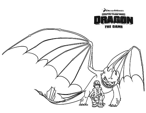 Hiccup And Night Fury In How To Train Your Dragon Coloring Pages