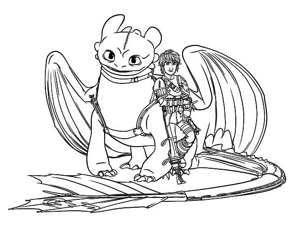 How To Train Your Dragon, : Hiccup and Toothless are Bestfriend in How to Train Your Dragon Coloring Pages