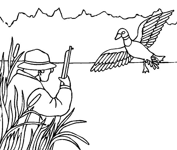 Hunting, : Hide Between Grass When Duck Hunting Coloring Pages