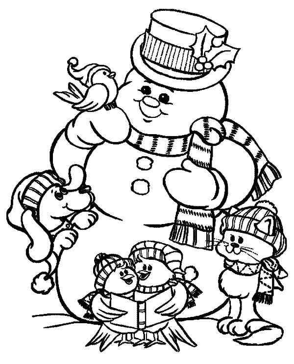 Holidays, : Holidays Playing Giant Snow Man Coloring Pages