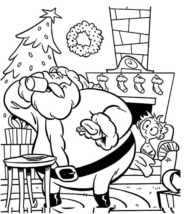 Holidays, : Holidays Santa Claus Drink Water Coloring Pages