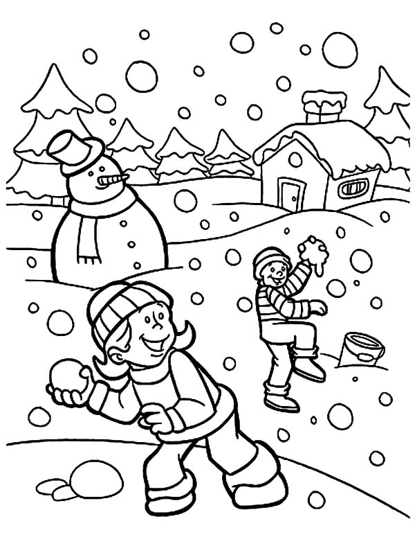 Holidays, : Holidays Snow Fight Coloring Pages