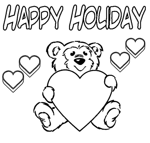 Holidays, : Holidays Teddy Bear Coloring Pages