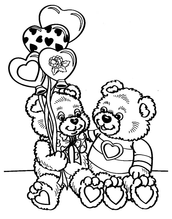 Holidays Teddy Bear Couple Valentines Day Coloring Pages ...