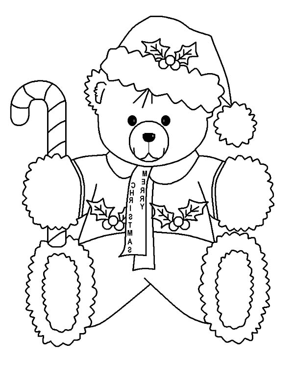 a lot of candy coloring pages   Holidays Teddy Bear Holding Candy Cane Coloring Pages ...