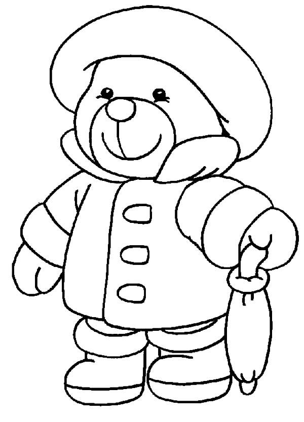 Holidays Teddy Bear, : Holidays Teddy Bear in Rainy Season Coloring Pages