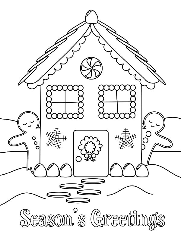 Holidays, : Holidays in Ginger Bread House Coloring Pages